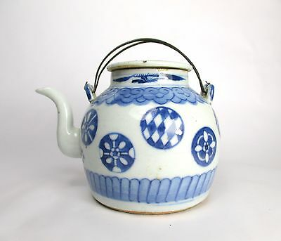 19thc CHINESE CERAMIC TEAPOT with WIRE HANDLES