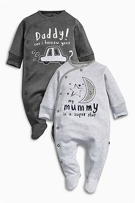 BNWT baby boys 2 pk Daddy Mummy sleepsuits NEWBORN 0-1,0-3-6,9-12 NEXT STAR MOON