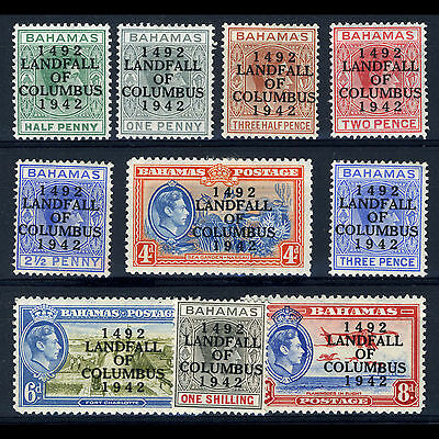 BAHAMAS 1942 Landfall. Set to 1s. 10 Values. SG 162-171. Mint. (CA22N)