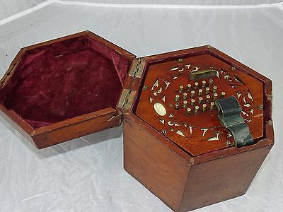 """Antique Cased 48 Key """"English"""" Concertina Full Working Order Lachenal?"""