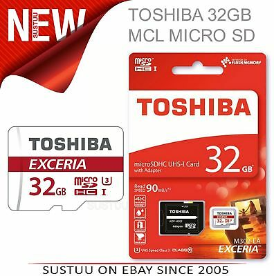 Toshiba 32GB Exceria MCL Micro SD Memory Card with Adaptor│4K Compatible│90 MB/s