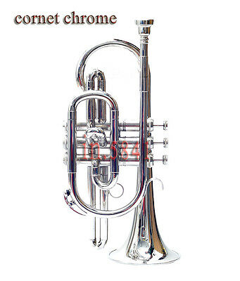 Cornet Chrome Finish Bb Pitch Nice Look W/case-Mp** Free Fast Shipping