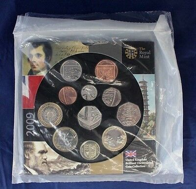 2009 Royal Mint 11 coin Uncirculated set in folder- Factory Sealed   (A10/2)