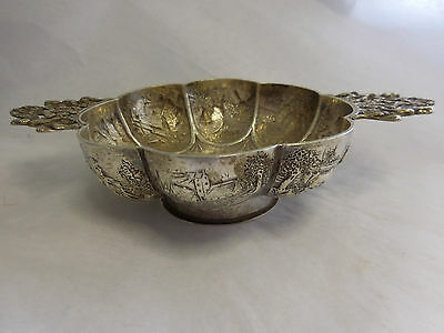 Fancy Dutch 833 Standard Silver Brandy Bowl With 8 Scenes & Cherubs Dated 1900