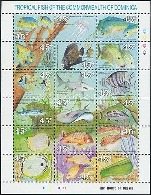 Dominica stamp 1990 Fishes minisheet MNH Mi 1292-1309 (A224)
