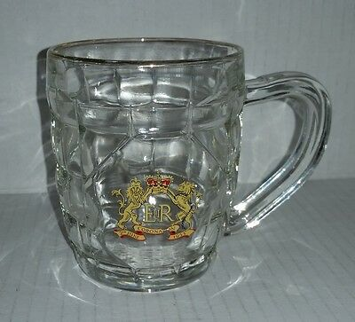 Queen Elizabeth QEII coronation small dimpled beer stein 1953