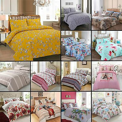 Luxury Modern Printed Poly Cotton Quilt Duvet Cover Bedding Set with Pillow Case