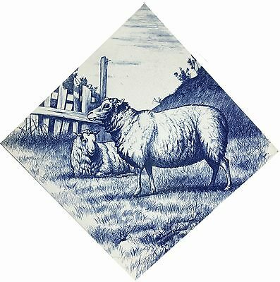 Large Mintons William Wise Sheep Butchers Tile c.1875 blue & white transfer