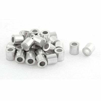 uxcell Aluminum Cable Stops Sleeves 30pcs for 1/8 Inch Wire Rope Swage Clip