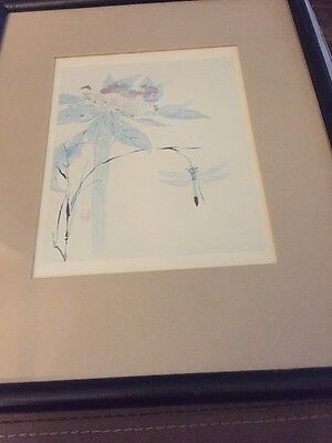 "Watanabe Kazan. Dragon Fly and Flower. ""Bamboo""  Framed ""Litho"""