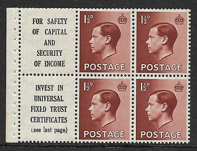 PB5a advert pane 10 - 'For Safety of Capital' Wmk Inv UNMOUNTED MINT