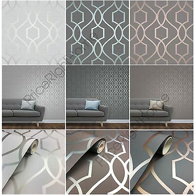 Fine Decor Apex Geometric Trellis Wallpaper Stone Grey Silver +More Feature Wall