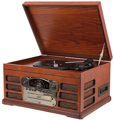 Wooden Retro Vintage Turntable with Built in CD and Tape Record Player