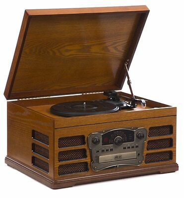 Wooden Retro Turntable with Built in CD and Tape Player