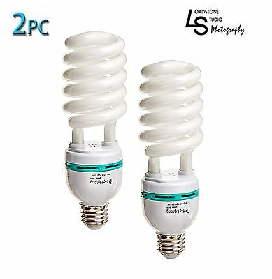 6500K Photography CFL Studio Light Bulb 2x 45W  Continuous Daylight pure white