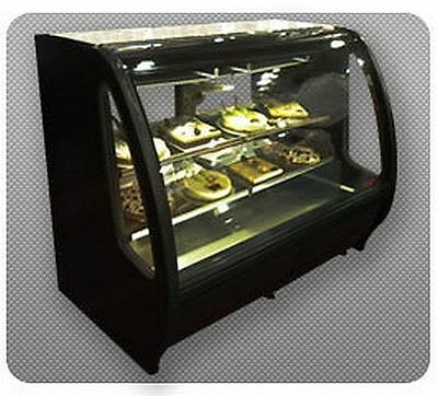New Black Curved Glass Deli Bakery Display Case Refrigerated Led  With Casters