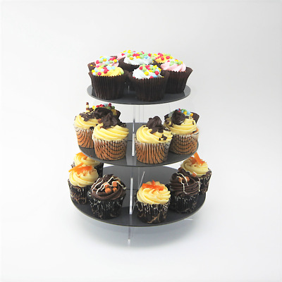 3 Tier Small Round Acrylic Cupcake Stand in 57 Colours - Baking Party Birthday