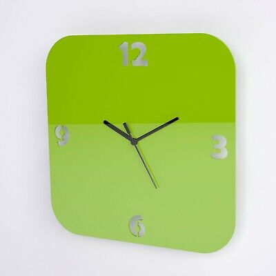 Large Acrylic Square Clock, Number Face Detail, Living Room, Bedroom, 41 Colours