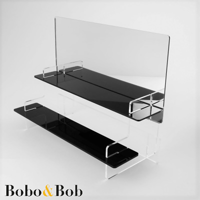2 Tier Slimline Acrylic Display Stand + Mirror, 295mm Wide, Toy Cars, Shot Glass