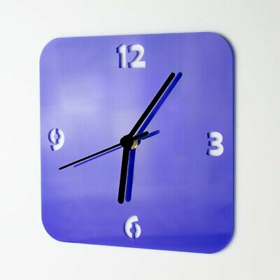 Small Acrylic Square Clock, Number Face Detail, Living Room, Bedroom, 41 Colours