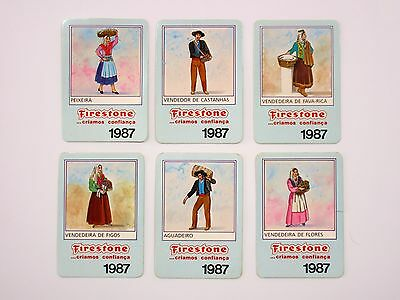 Portuguese Traditional / Typical Professions - 6x FIRESTONE Pocket Calendar 1987