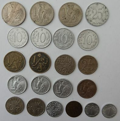 22 Assorted Coins From Czechoslovakia, 12 Different Types, Dated 1922-1968