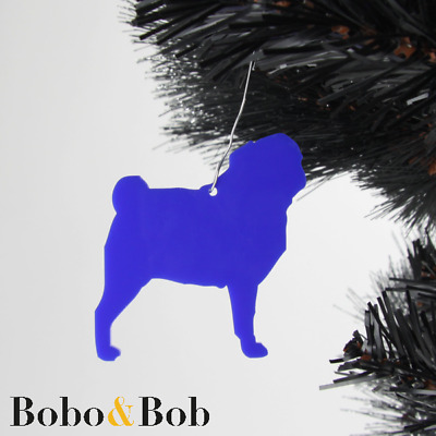 Set of 5 Acrylic Pug Dog Christmas Tree Decorations - Baubles Ornaments Puppy