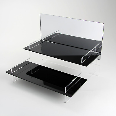 2 Tier Acrylic Display Stand + Mirror, 295mm Wide, Pops, Lego, Figures, Toy Cars