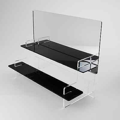 2 Tier Heavy Duty Slimline Acrylic Display Stand + Mirror, 37 Colours