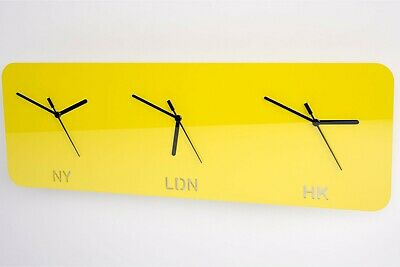 Time Zone Wall Clock, London, New York, Hong Kong, Office, Living Room, Acrylic