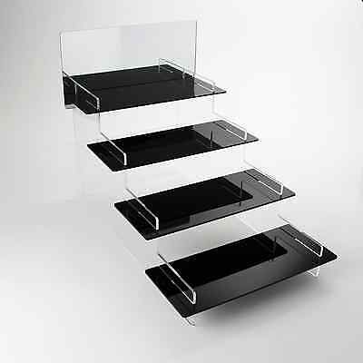 4 Tier Heavy Duty Acrylic Display Stand + Mirror, 37 Colours, Home/Retail
