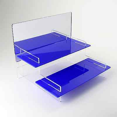 2 Tier Heavy Duty Acrylic Display Stand + Mirror, 37 Colours, Home/Retail