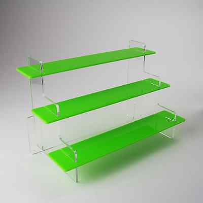 3 Tier Heavy Duty Slimline Acrylic Display Stand, 37 Colours, Home/Retail