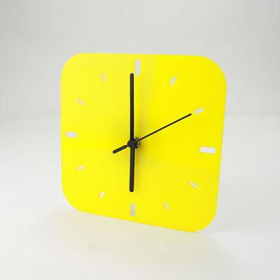 Small Acrylic Square Clock, Dashes Face Detail, Bedroom, Living Room, 41 Colours