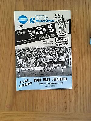 Port Vale v Watford 20.2.1988 FA  Cup