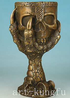 Cool Chinese Bronze Collection Handmade Carved Skull Statue Cup