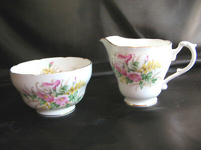 Vintage Adderley bone china Floral pattern milk jug & sugar bowl FREE UK P&P
