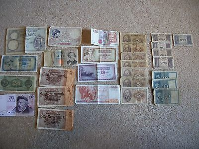 lot of 28 vintage bank notes...ww2 forces/european/african