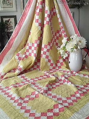 """ANTIQUE c1880 Double Pink & Lime Green Irish Chain QUILT 80"""" x 72"""""""