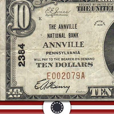 1929 $10 National Currency ANNVILLE PA Pennsylvania Bank Note NB   E002079A