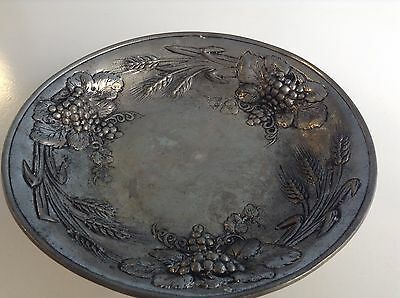 Beautiful Heavy Pewter / Etain 95% Fruit Bowl - D x 24.5 cm - H x 6 cm