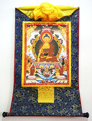 "48"" Tibet Buddhist Thangka - Deity Shakyamuni With 2 Disciples Silk Wood Scroll"