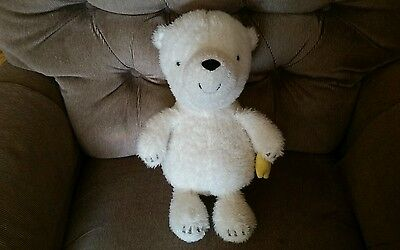 """Hallmark Talking Bear What Will You Wish For 15"""" White Plush Holding Yellow Star"""