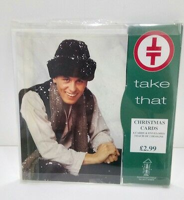 TAKE THAT Christmas Cards - Box Of 6 - Mark Owen & Group Design - Rare Official