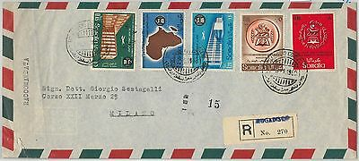 65185 - SOMALIA AFIS - POSTAL HISTORY -  REGISTERED  COVER to ITALY 1960 coins