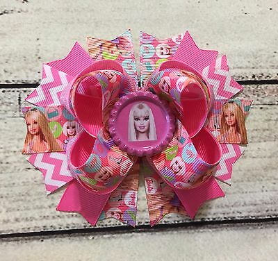 Handmade Pink Barbie Stacked Boutique Hair Bow