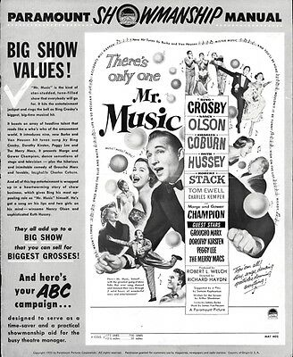 MR. MUSIC pressbook, Bing Crosby Nancy Olson,  Marx Brothers, Peggy Lee