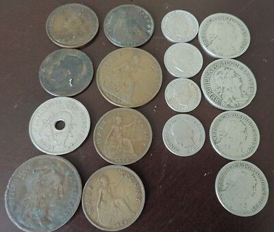 Lot of 16 OLD FOREIGN WORLD COINS from 1882-1929