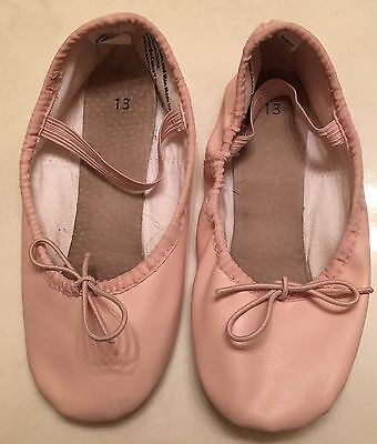 Ballet Shoes Girls Pink Tie Front Dance Slippers Girl's Youth Sz 13