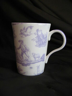 Laura Ashley bone china Toile de Jouy mug purple colourway FREE UK P&P